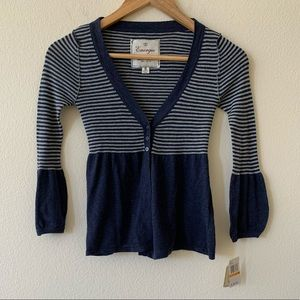 NWT ENERGIE Navy blue striped cardigan size small